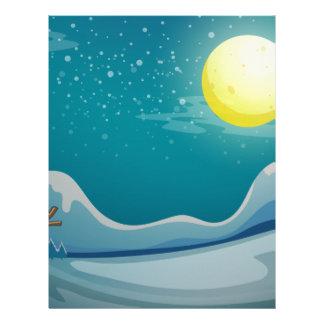 A snowman under the bright moon letterhead