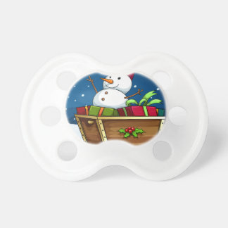A snowman with an empty callout pacifier