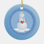 A Snowman With Heart Christmas Tree Ornament
