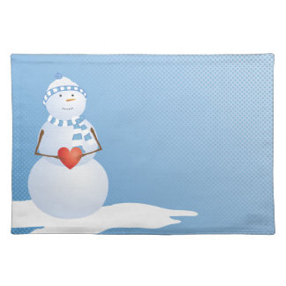 A Snowman With Heart Cloth Placemat