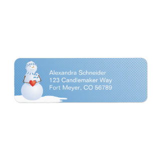 A Snowman With Heart Label