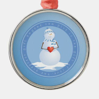 A Snowman With Heart Metal Ornament