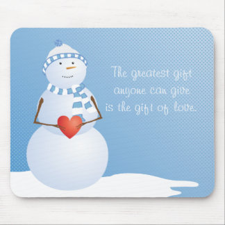A Snowman With Heart Mouse Pad