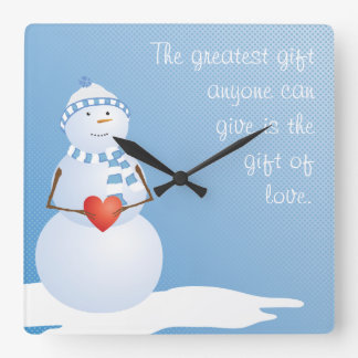 A Snowman With Heart Square Wall Clock