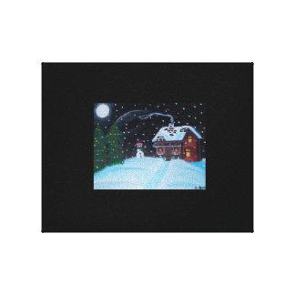 A Snowy Christmas Night Canvas Print