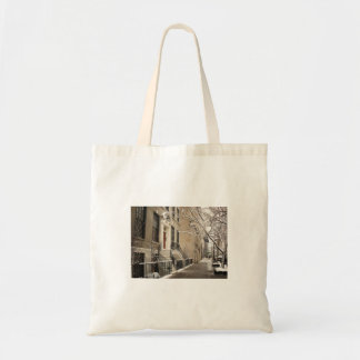 A Snowy Day on the Upper East Side Tote Bags