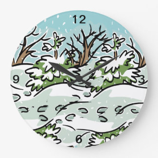 A Snowy Forest - Large Clock