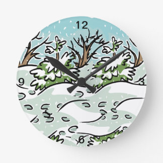 A Snowy Forest - Round Clock