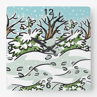 A Snowy Forest - Square Wall Clock