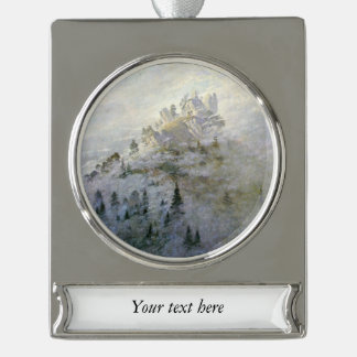 A Snowy Mist on the Mountains Silver Plated Banner Ornament