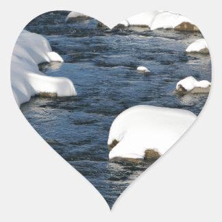 A Snowy River view Heart Sticker