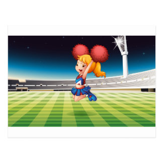 A soccer field with an energetic cheerdancer postcard