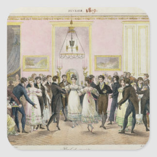 A Society Ball, engraved by Charles Etienne Square Sticker