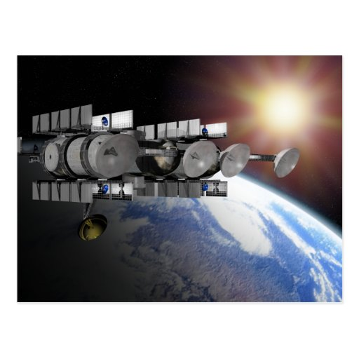A Solar Power Station orbiting above the earth Post Cards