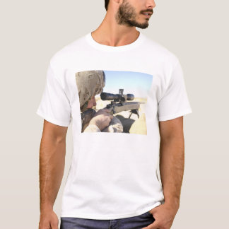 A soldier aims in with his M40A3 T-Shirt