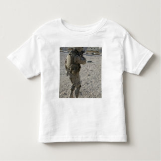 A soldier engages his target on a shooting rang tee shirt