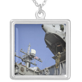 A soldier fast-ropes square pendant necklace
