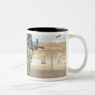 A soldier fires rounds down range coffee mug