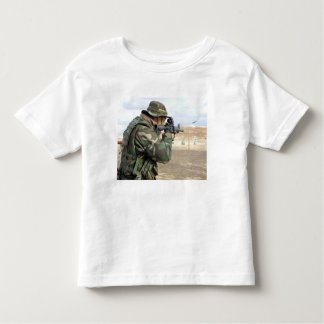 A soldier fires rounds down range toddler t-shirt
