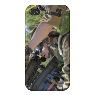 A soldier operates a missile launcher case for iPhone 4