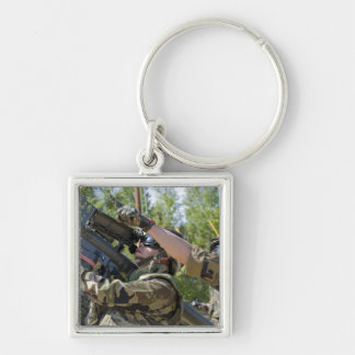 A soldier operates a missile launcher keychain