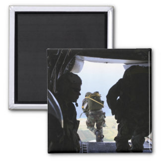 A Soldier performs a static-line jump 2 Inch Square Magnet
