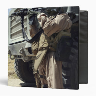 A soldier provides security for Marines 3 Ring Binder
