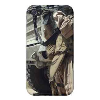 A soldier provides security for Marines iPhone 4 Case