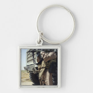 A soldier provides security for Marines Keychain