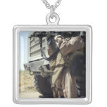 A soldier provides security for Marines Square Pendant Necklace