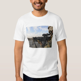 A soldier sights in to fire on a target t-shirt