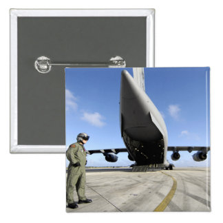 A soldier waits for his C-17 Globemaster III Pinback Button