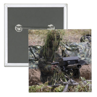 A soldier with MK-19 grenade launcher 2 Inch Square Button