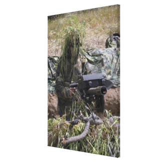 A soldier with MK-19 grenade launcher Canvas Print