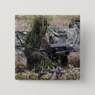 A soldier with MK-19 grenade launcher Pinback Button
