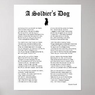 A Soldier's Dog, Inspiring War Poem Poster