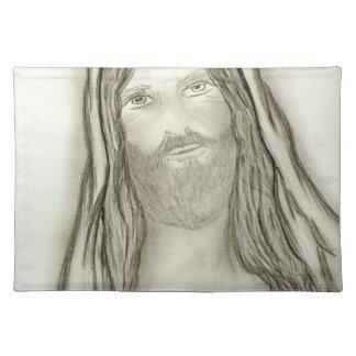 A Solemn Jesus Cloth Placemat