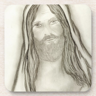 A Solemn Jesus Coaster