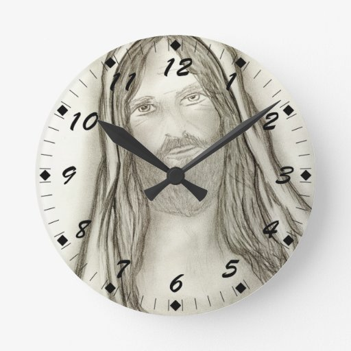 A Solemn Jesus Round Clock