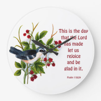 a songbird in a berry bush with scripture clock