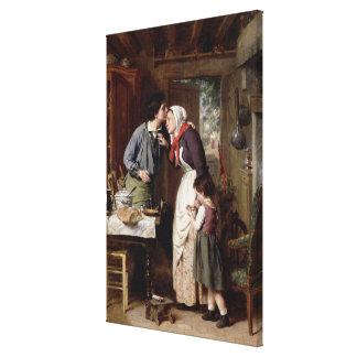 A Son's Devotion, 1868 (oil on canvas) Canvas Print