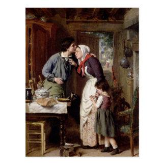 A Son's Devotion, 1868 (oil on canvas) Postcard
