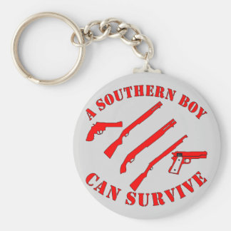 A Southern Boy Can Survive Basic Round Button Keychain