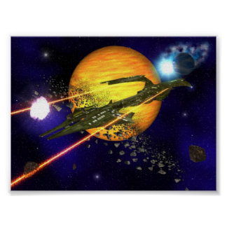 A spaceship clearing asteroids poster