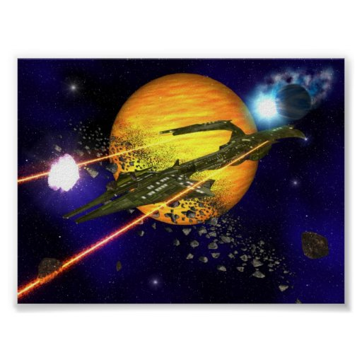 A spaceship clearing asteroids posters