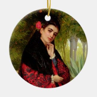 A Spanish Beauty, 1872 (oil on canvas) Ceramic Ornament