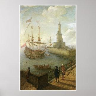 A Spanish three-decker Anchored at Naples Print