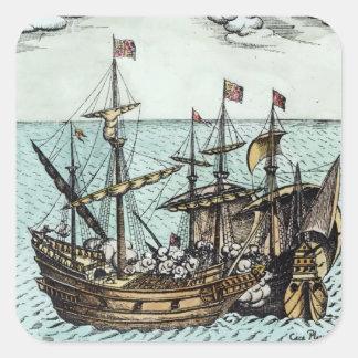 A Spanish Treasure Ship Square Sticker