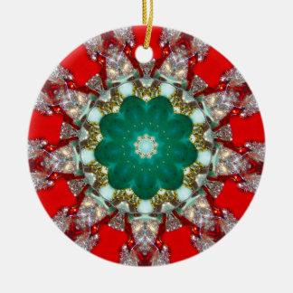 A Sparkling Christmas Fractal Ceramic Ornament