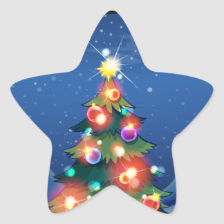 A sparkling christmas tree in the middle of the ni star sticker